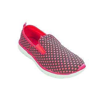 Dames Slip op Check Checkboard Plimsolls Sneakers platte Trainers Fashion schoenen