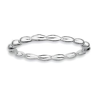 925 Sterling Argent Poli à motifs Rhodium plaqué Expressions Stackable Expressions Rhodium Rice Bead Ring Bijoux Bijoux pour Wom