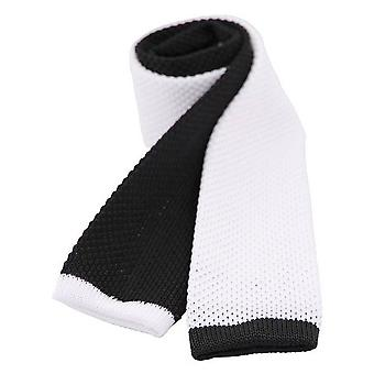 David Van Hagen zweifarbig gestrickt dünne Krawatte - schwarz/weiß