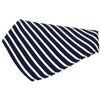 David Van Hagen Striped Silk Handkerchief - Navy/White