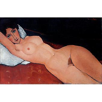 Reclining naakt op een rode bank, Amedeo Modigliani, 60x40cm