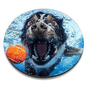 i-Tronixs - Underwater Dog Printed Design Non-Slip Round Mouse Mat for Office / Home / Gaming - 11