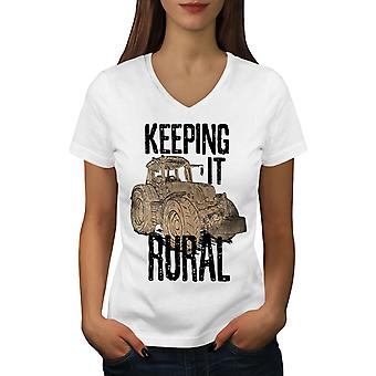 Keeping It Rural Women WhiteV-Neck T-shirt | Wellcoda