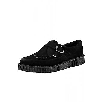 TUK Shoes Black Suede Monk Buckle Pointed Creeper