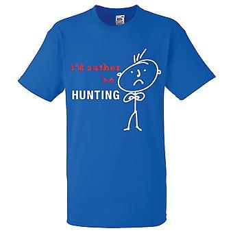 Mens je voudrais plutôt être chasse Tshirt bleu Royal
