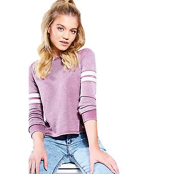 Double Agent Purple Sweater Jumper With White Stripe Sleeves