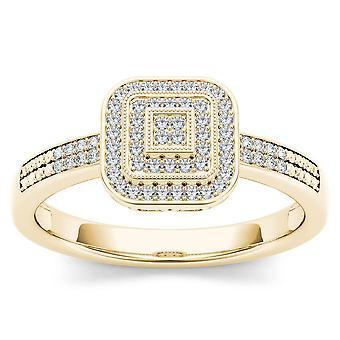 Igi certifierad 10k gult guld 0,15 ct diamant halo vintage stil förlovningsring