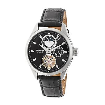 Heritor Automatic Sebastian Semi-Skeleton Leather-Band Watch- Silver/Black