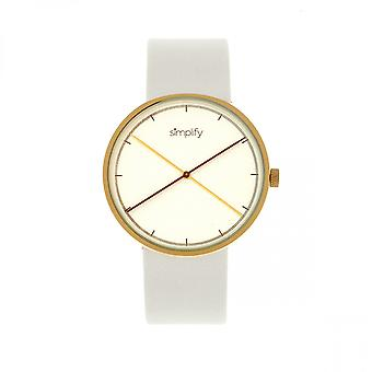 Simplify The 4100 Leather-Band Watch - Gold/White