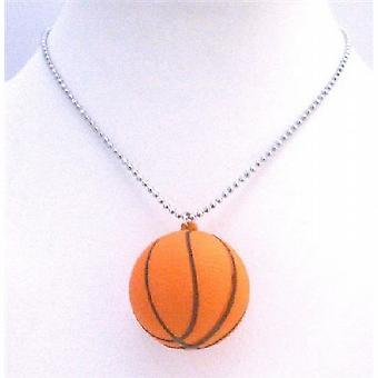 Basket Ball Anhänger Halskette Sport Basket Ball Anhänger lange Kette