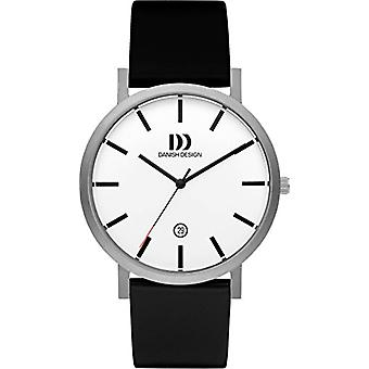 Danish Design men's quartz watch DZ120437 analog display white and black leather strap
