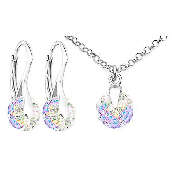 Ah! Jewellery Crystals From Swarovski Briolette Earrings & Necklace Set, Sterling Silver