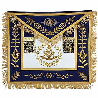 Masonic Blue Lodge Past Master Gold Handmade Embroidery Apron Blue Velvet