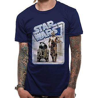 Star Wars voksne unisex voksne droids retro badge design T-shirt