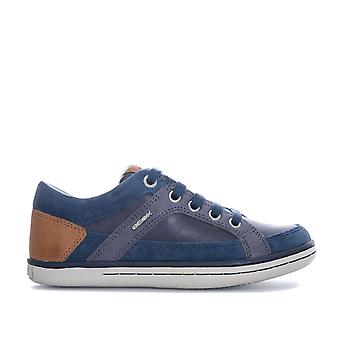 Children Boys Geox Garcia Trainers In Navy- Lace Fastening With Zip To Side-
