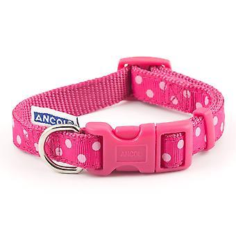 Ancol justerbar rosa Vintage Polka hundhalsband - 20-30cm