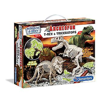 Archeofun T-rex And Triceratops (glow In The Dark)