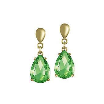Eeuwige collectie verleiding Teardrop Peridot groene Crystal Gold Tone Drop doorboord oorbellen