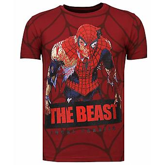 The Beast Spider - Rhinestone T-shirt - Bordeaux