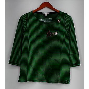Isaac Mizrahi Top 3/4 Sleeve Striped Blue/ Green