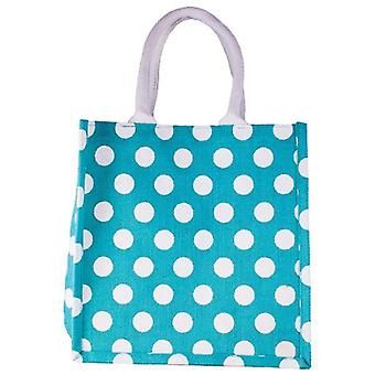 Jute co. Bags jute shopper tas-blauwe polka dot