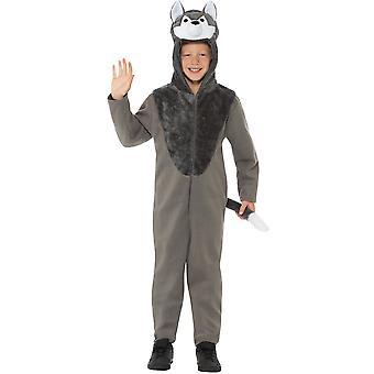 Wolfskostüm Kinder Grau mit Kapuzenoverall Kostüm Kinderkostüm