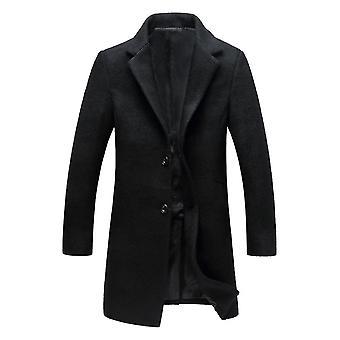 Allthemen Men's Wełniany płaszcz Mid-Long Slim Fit Overcoat Jesienna wiatrówka