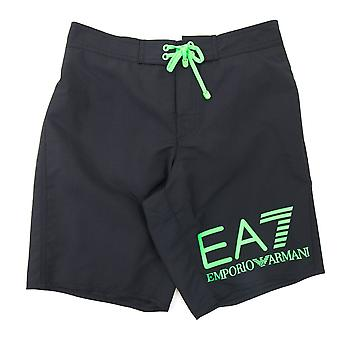 EA7 Neon Green Logo Swim Shorts Black