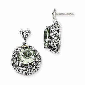 925 sterlinghopeaa 14k vihreä kvartsi post pitkä pudota dangle korvakorut korut lahjat naisille