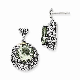 925 Sterling Silver With 14k Green Quartz Post Long Drop Dangle Earrings Jewelry Gifts for Women