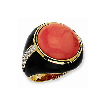 Gold Flashed 925 Sterling Silver Enamel Blk Enam Simulated Red Created Simulated Coral and CZ Ring Jewelry Gifts for Wom