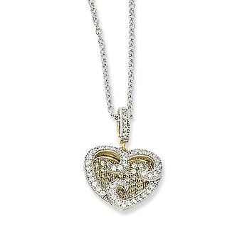 925 Sterling Silber Hummer Kralle Verschluss und 14 k vergoldet CZ Zirkonia simuliert Diamant Liebe Herz Halskette 18