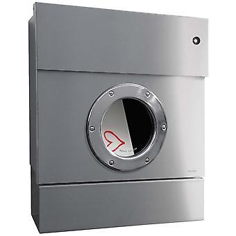 PROMIEŃ letterbox Letterman 2 ze stali nierdzewnej z red LED pierścień i gazety roli 505 KR Y