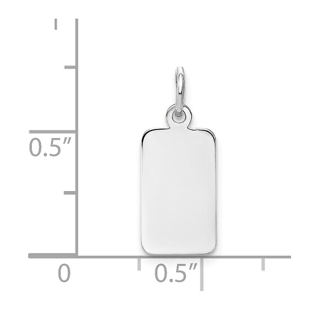 14k White Gold Solid Polished Engravable Plain .018 Gauge Rectangular Eng able Charm Pendant Necklace Jewelry Gifts for