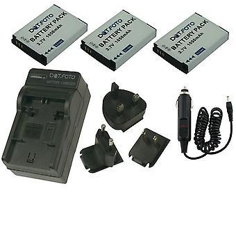 Dot.Foto Toshiba PX1733-1BRS - 3.7V / 1050mAh batterie (lot de 3) et chargeur de voyage