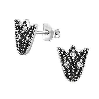 Бали тюльпан - 925 стерлингового серебра кубического циркония уха шпильки - W30084x