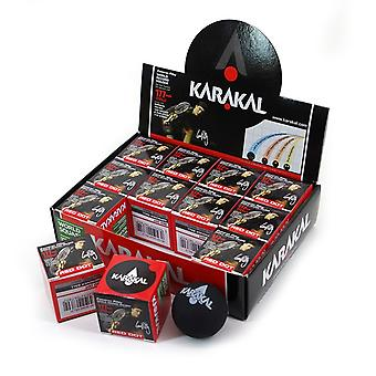 Karakal Red Dot Medium Speed Intermediate Skill Black Squash Balls - Box of 12