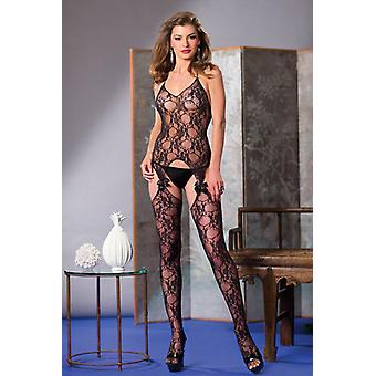 Lace Catsuit With Suspender look And Bow Ties