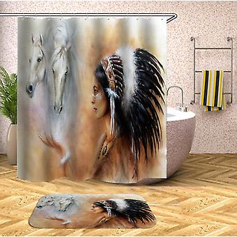 Native American Girl And Horses Shower Curtain
