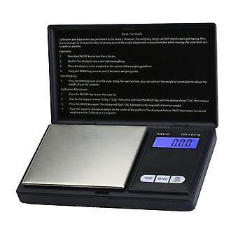 Black Digital Pocket Weighing Scales 100 G Capacity 0.01 G Accuracy