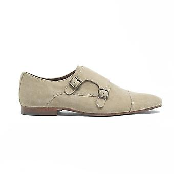 Mens walk london luca monk strap shoes in stone suede