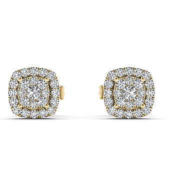IGI Certified Natural 10k Yellow Gold 0.25 Ct Diamond Fashion Stud Earrings