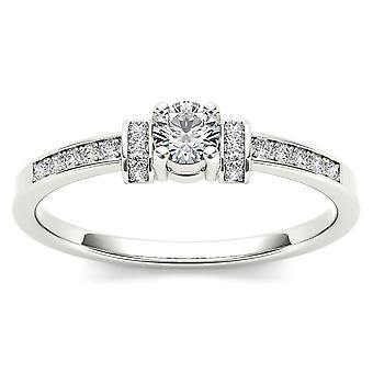 IGI certifié naturel 10k or blanc 0,24 Ct diamant bague de fiançailles classique