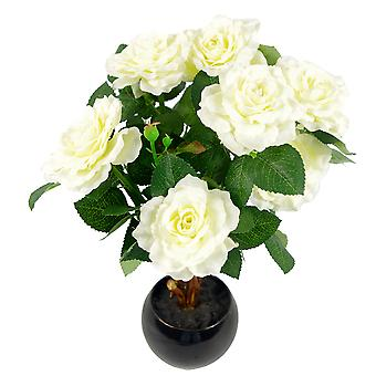 42cm künstliche Rose Pflanze Medium Elfenbein / leichte Creme in Keramik Pflanzer