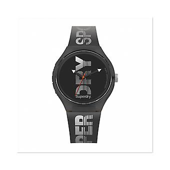 -Watch Superdry SYG189B round case silicone Soft Touch gray dial gray gray with white logo man Silicone Bracelet