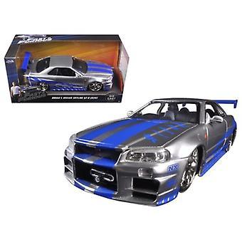 Brian\'S Nissan Gtr Skyline R34 Silver/Blue \Fast & Furious\ Movie 1/24 Diecast Model Car By Jada