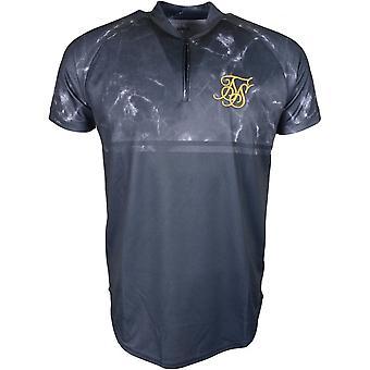 Sik Seide Baseball Kurzarm aus Polyester schwarz Marmor T-shirt