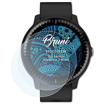 Bruni 2x Schutzfolie kompatibel mit Garmin Vivoactive 3 Music Folie