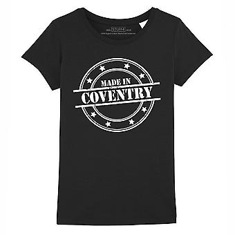 STUFF4 Girl's Round Neck T-Shirt/Made In Coventry/Black