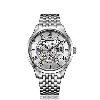 Reloj de pulsera automático Rotary GB02940-06 Greenwich Silver Tone